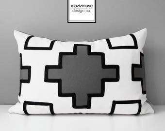 Decorative Grey Outdoor Pillow Cover, Geometric Black White & Gray Pillow Cover, Tribal Throw Pillow, Sunbrella Cushion Cover, Mazizmuse