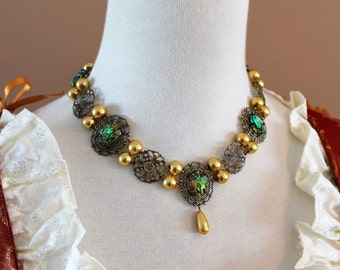 CUSTOM Antique Gold Finish Anne Tudor Renaissance Victorian Medieval Necklace Jewelry Game of Thrones