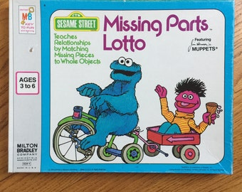 Vintage 1970s Childrens Game / Milton Bradley Sesame Street Missing Parts Lotto 1975 Complete VGC / Matching Objects Learning Memory Game