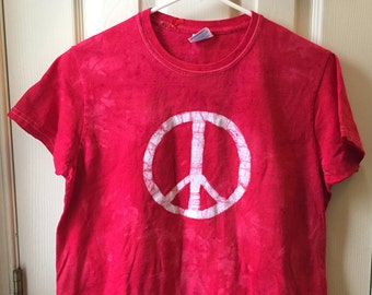 Peace Sign Shirt, Red Peace Shirt, Womens Peace Sign Shirt, Ladies Peace Sign Shirt, Batik Peace Sign Shirt (Ladies M)