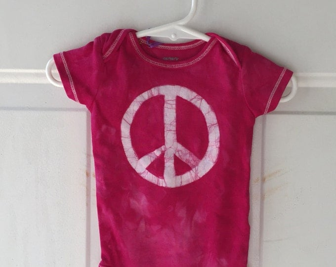 Peace Sign Baby Bodysuit, Pink Peace Sign Bodysuit, Peace Sign Baby Gift, Baby Shower Gift, Baby Girl Peace Sign, Pink Peace (6 months)