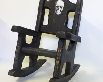 Gothic Doll Furniture - Doll Rocking Chair - Wood Rocking Chair - Skulls - Creepy Doll Decor - Doll Props