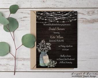 MasonJar Bridal Shower Invitation Rustic Printable Wedding Floral