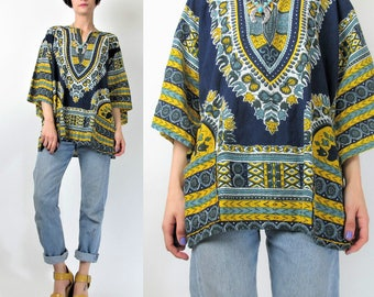 60s 70s Dashiki Blouse Cotton Angel Sleeve Shirt Boho Ethnic Pullover Tunic Top Blue Yellow Psychedelic Print Hippie Festival (L) E6071