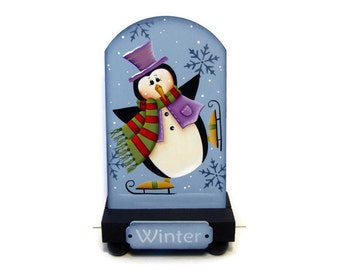 Skating Penguin Table Top Stand, Handpainted Wood, Hand Painted Winter Home Decor, Shelf Sitter, Tole Decorative Painting, B6