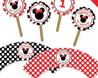 Red Minnie Mouse Party - Personalized DIY printable cupcake wrappers and toppers set