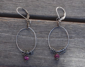 Sterling Silver and RUBY earrings Dark Silver with Lever Back earwires rings ~ Kinetic Movement earrings