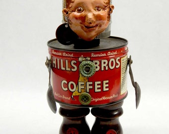 Assemblage Art Doll Vintage Coffee Can Character