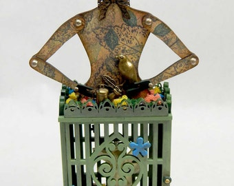 Secret Garden Assemblage Art Doll Cage Style