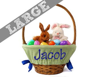 Large Personalized Easter Basket Liner for oversized baskets - Green Gingham - Basket not included - Jumbo Size