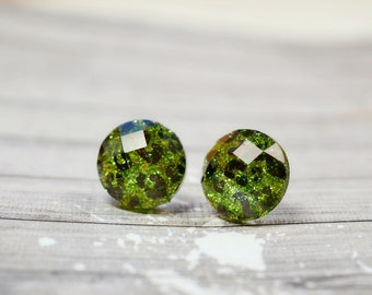 Lime Green and Black Cheetah Earrings, Sparkly Glitter Studs, Animal Print Jewelry