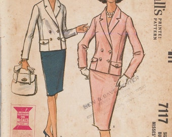 McCalls 7117 / Vintage 60s Sewing Pattern / Skirt Jacket Suit / Size 16 Bust 36