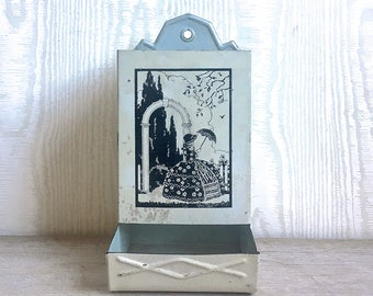 Vintage Antique Tin Metal Match Holder For Storing Matches - Southern Belle Silhouette Black White