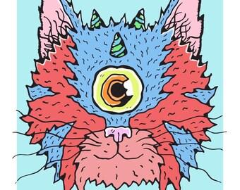 Cyclops Horned Spacecat Wiggly Kitty Cat Art Print