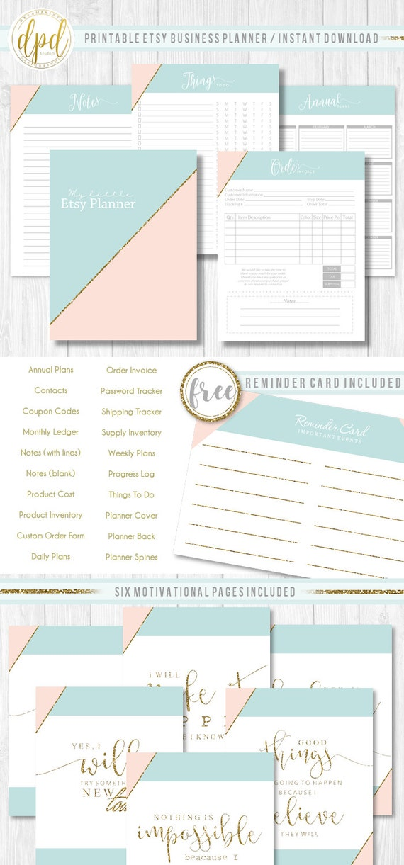 "Premade Etsy Business Planner | Lettersize 8.5"" x 11"" 