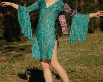 Size XS... Silk Fairy Dancing Dress... Flutter Angel Sleeves... Festival Fancy
