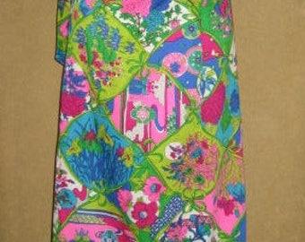"Mod Floral Barkcloth Print Maxi Skirt 28"" Waist 60s Vintage"