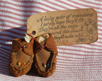 Vintage Souvenir Moccasins with Mailable Tag from Denver, Colorado, 1943, Novelty Mailer Shoes