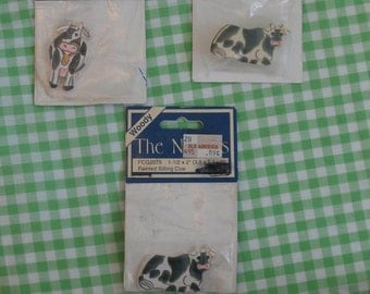 3 Wooden Cow Shaped Craft Pieces, Wood Cows for Crafting, Black and White Painted Holstein Cattle