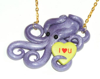 Valentine's day octopus necklace. conversation heart, candy necklace. galentine's, palentine's. gift. purple