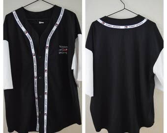 Vintage Tommy Hilfiger Tommy Sports Black and White Jersey Shirt