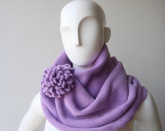 Infinity scarf, Winter infinity fleece scarf, Lavender violet scarf, Girlfriend gift, Christmas scarf with flower pin, Womens scarves