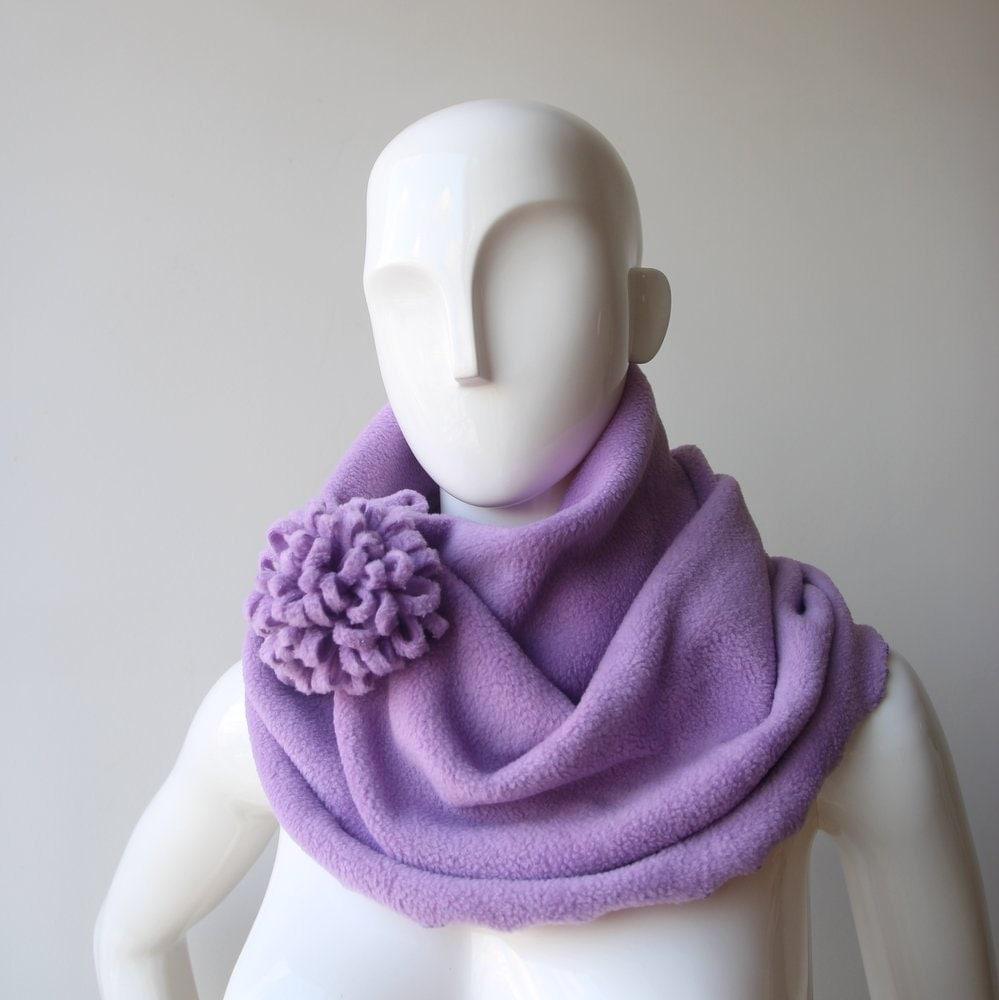 winter infinity fleece scarf lavender violet scarf