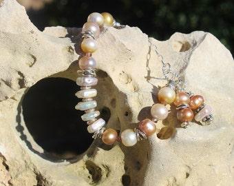 Handmade Pond Slime Pearl Bracelet, OOAK Urban Chic Bracelet, Layering Bracelet, Wearable Art,  Handcrafted Artisan Sterling Silver Bracelet