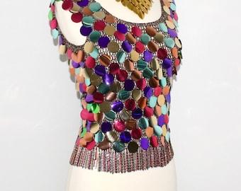 LORIS AZZARO Vintage Sequin Top Colorful Metal Chain Paillettes Tank - AUTHENTIC -