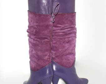 Vintage BOOTS Violet Purple Suede Leather Slouch Stilettos 7