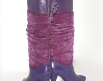 Vintage BOOTS Violet Purple Suede Leather Slouch Stilettos 7
