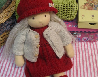 "Lovely knitted  clothing set of 5  for Waldorf doll or Steiner doll  - 13"" (33 cm)"