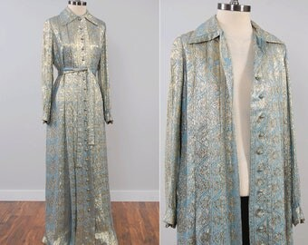 Vintage 60s 70s Oscar de la Renta blue and gold lame maxi dress / full button down Duster jacket / size 14 / AS IS condition