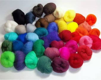 Needle Felting Wool, 7 OZ, Needle Felting Kit, 45 Color Roving Pack, Fiber, Destash, Carded Sampler, Color Rainbow, Rove, Soap, Assortment