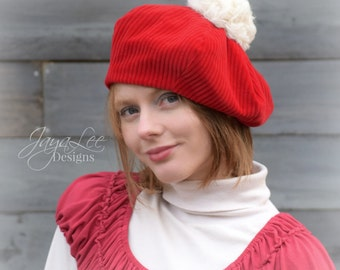 Beret Hat Red Corduroy Holiday Santa Hat, Mrs Claus Hat