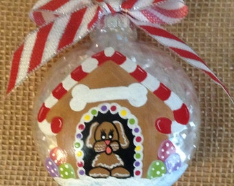Gingerbread dog house, personalized dog ornament, hand painted Christmas ornament, Christmas dog lover's gift, new puppy ornament.