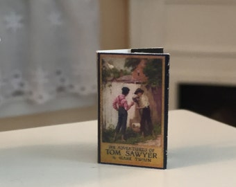 "Miniature Book, ""Adventures of Tom Sawyer"", Printed Inside Pages, Dollhouse Miniature, 1:12 Scale, Readable Book, Tiny Printed Book"