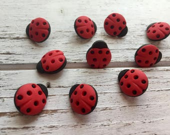 Ladybug Buttons, Packaged Novelty Buttons by Buttons Galore, Style 4247, Shank Back Buttons, Embellishments