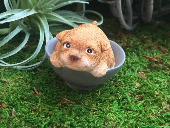 Puppy Figurine, Playful Puppy Dog in Bowl, Style 4571 Fairy Garden Accessory, Miniature Gardening, Home & Garden Decor, Topper, Shelf Sitter