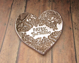 Fairy Godmother Love Gift Bronze Pearl Vintage Lace Rose Vine Heart Jewelry Ring Dish Personalized For Her Birthday Present Wedding Keepsake