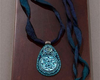 Bead Embroidered Necklace - Bead Embroidered Pendant - Bead Embroidery Necklace - Bead Embroidery Pendant - Bead Embroidery Blue