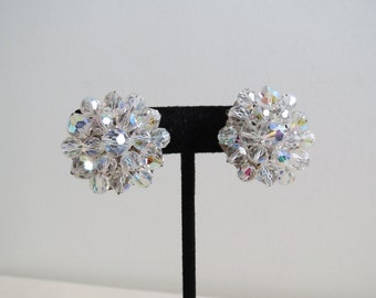 1950s 1960s Vintage Crystal Earrings - Aurora Borealis Beads Silvertone Clip On - Midcentury Costume Jewelry
