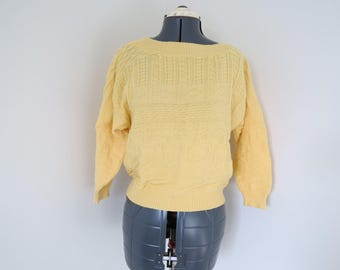 Vintage 1980s Sunny Yellow Cotton Sweater - Womens Bust 38