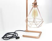 Desk Lamp - Copper Pipe Industrial Antique Edison Bulb Cage Table Lamp Vintage Industrial Cage Light Antique Lighting Desk Lamp