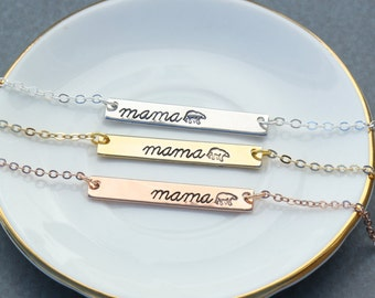 Mama Bear Necklace • Rose Gold Mama Bear Bar • Mom Gift • Grandma Gift • Mother's Day Necklace • Stamped Bear • Funny Mom Gift • Aunt Gift