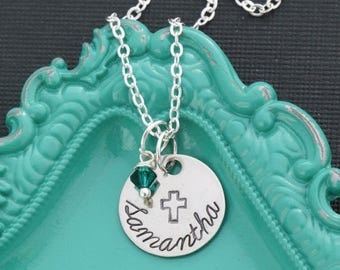 SALE • Custom Cross Necklace • Personalized Cross Charm Christian Gift •Girls Baptism Gift Confirmation Necklace Baptism Sunday School Class