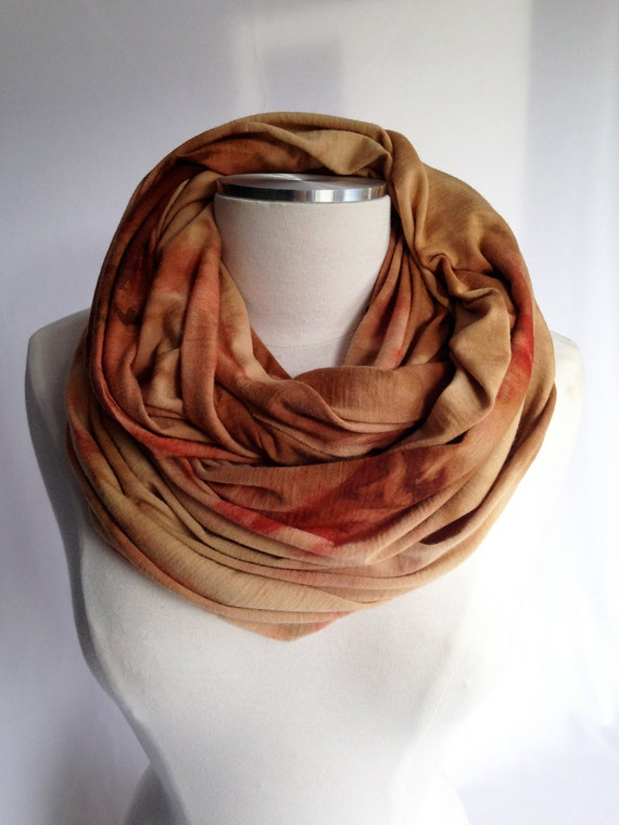 Merino infinity Scarf - NATURAL Dyed, earthy Gold