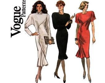 Vogue 7039 80s Dress Pattern Asymmetric Seam Godet Flounced Hem Size 12 Bust 34 inches UNCUT Factory Folded