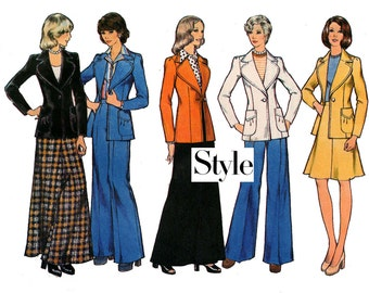 1970s Style 4464 Womens Wide Lapel Jacket Skirt Maxi & Flares Pants Vintage sewing pattern Size 14  Bust 36 UNCUT Factory Folded