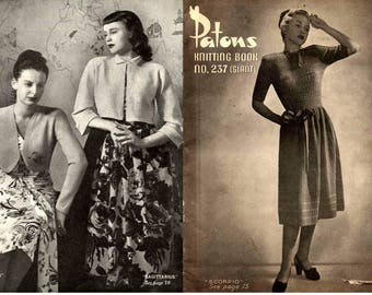 Vintage 1940s Womens Knitting Patterns Book Patons 237 Dresses Suits Skirts Boleros Skirts ORIGINAL War Era paper patterns not PDF